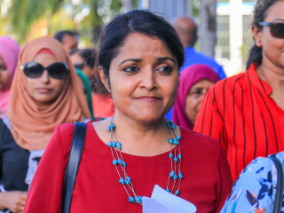 Yumna Maumoon arrives at police headquarters